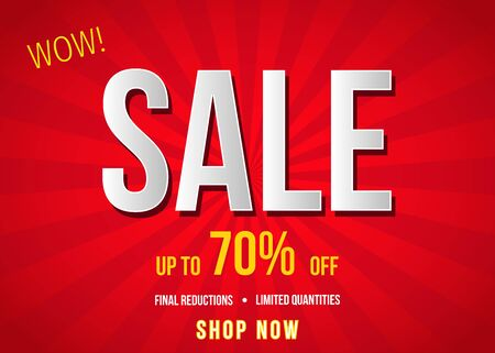 Sale  banner on red background. Final reductions. Special offer poster: up to 70% off.  Vector illustration in flat style. Ilustrace