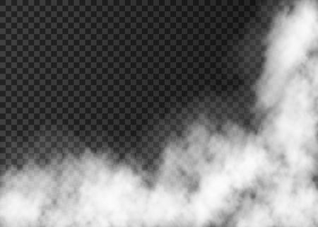 煙や霧のテクスチャ。透明な背景に分離された白い現実的ベクトル霧。 蒸気の特殊効果。  イラスト・ベクター素材
