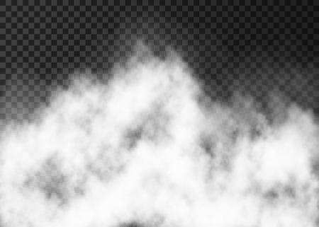 흰색 연기 연기 또는 안개 투명한 배경에 고립. 증기 특수 효과. 현실적인 벡터 안개 텍스처입니다. 일러스트