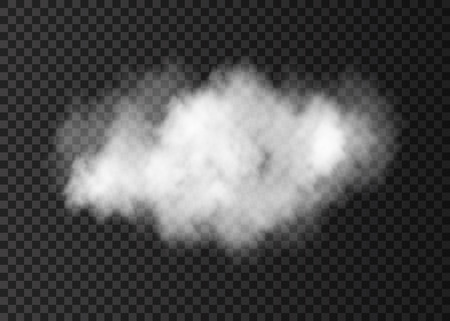 Realistic  vector white  smoke cloud  isolated on transparent background.  Steam explosion special effect. Fire fog or mist texture .