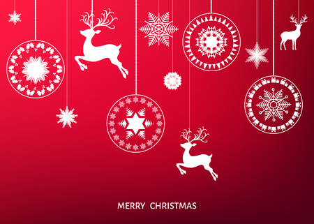 new years: Christmas white  tree decoration  on  red  background. Happy New Year.  Xmas ball, reindeer and  snowflakes. Vector winter template  for greeting  card or party invitation.