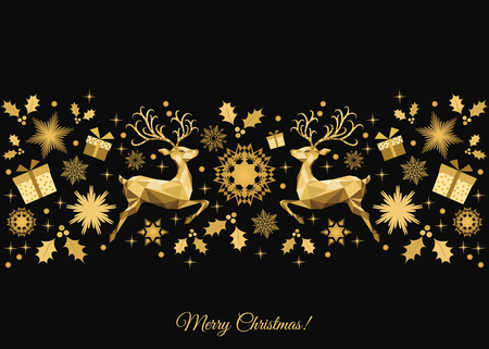 Christmas  background. Golden Xmas  tree decoration. Happy New Year pattern. Gold   reindeer and  snowflakes. Vector template  for greeting  card or party invitation . Reklamní fotografie - 86145310