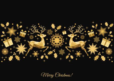 Weihnachtshintergrund. Goldene Weihnachtsbaumdekoration. Frohes neues Jahr-Muster. Gold Rentier und Schneeflocken. Vektor-Vorlage für Grußkarte oder Party Einladung.