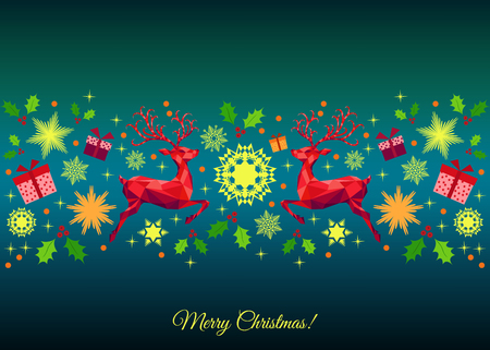 bright: Christmas colorful  decoration. Happy New Year bright  background. Red Xmas jumping  reindeer, holly, gifts and  snowflakes. Vector template  for greeting  card.