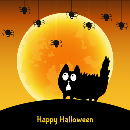 silueta de gato: Cute  Halloween greeting card.   Fun  black cat,  moon  and  spider.  Vector  template   for  flyer or party  invitation.