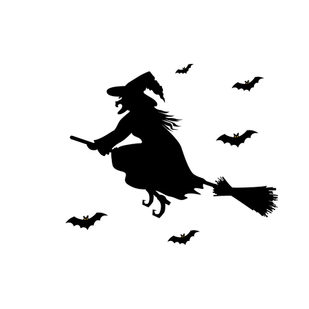 Witch silhouette on a broom. Çizim