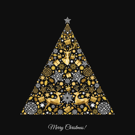 Christmas tree. Gold  pattern. Golden, white  decoration. Happy New Year  black background. Xmas  reindeer, gifts,  snowflakes. Vector template  for greeting  card.
