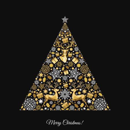 Kerstboom. Gouden patroon. Gouden, witte decoratie. Gelukkig Nieuwjaar zwarte achtergrond. Kerstmisrendier, giften, sneeuwvlokken. Vector sjabloon voor de wenskaart. Stock Illustratie