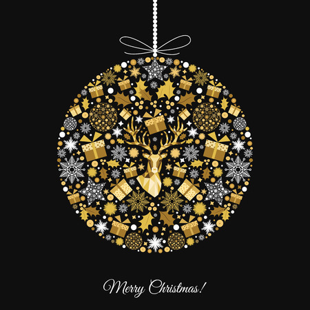Christmas ball. Gold pattern. Golden, white  decoration. Happy New Year black background. Xmas  reindeer, gifts,  snowflakes. Vector template  for greeting  card.
