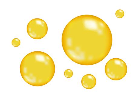 Realistyczne błyszczące bąbelki złota na białym tle. Kropla oleju. Złota kula. Tekstura wektor.