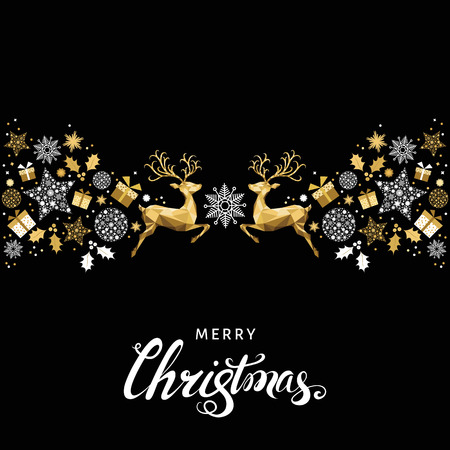 Christmas pattern. Golden  decoration. Happy New Year background. Gold Xmas reindeer and  snowflakes. Vector template  for greeting  card.