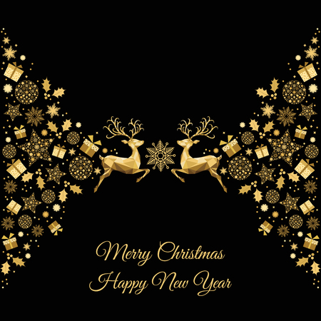 Christmas Golden Background Gold Xmas Reindeer And Decoration Vector Template For Greeting Card
