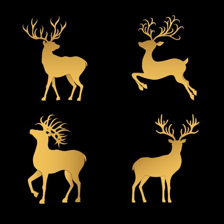 Inzameling van gouden die Kerstmisherten silhouetten op de zwarte achtergrond worden geïsoleerd. Golden Xmas-rendieren. Vector illustratie.