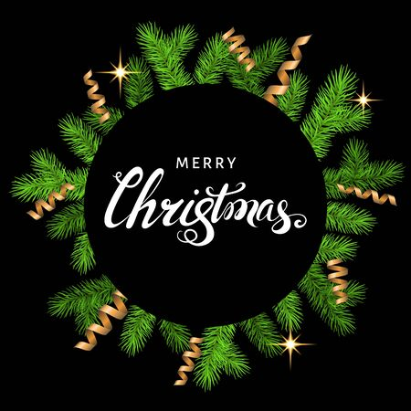 Christmas card with spruce branch, golden serpentine and lettering on black  background. Green fir wreath. Vector template  for Xmas  banners, flyers, New year party posters.