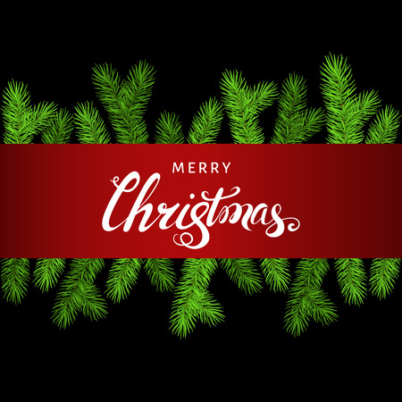 Christmas background  with spruce branch and lettering.  Green fir. Vector template  for Xmas cards, banners, flyers, New year party posters. Illustration