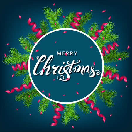 Christmas wreath  with spruce branch, pink  serpentine and lettering on blue  background. Green fir. Vector template  for Xmas cards, banners, flyers, New year party posters. Illustration