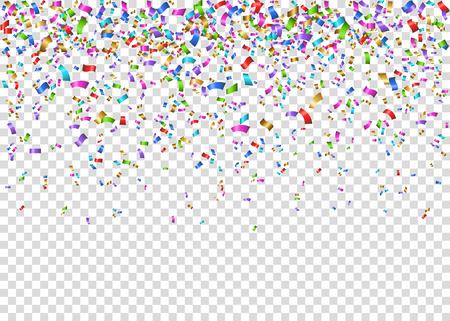 Shiny colorful festive tinsel isolated on transparent illustration.