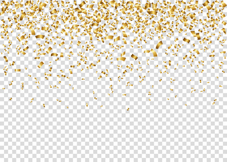 Christmas Tinsel Transparent Background.Falling Glowing Golden Confetti Gold Shiny Festive Tinsel