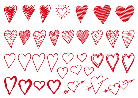 Set doodle  hand drawn red hearts  isolated on white background. Vector design elements for Valentines day and wedding card.
