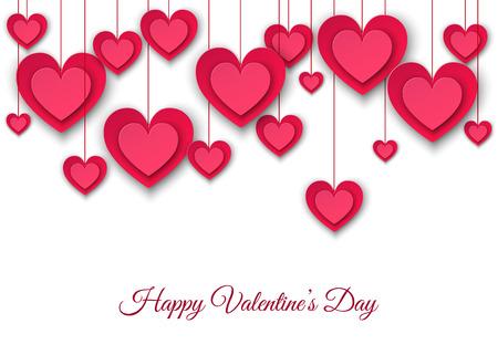Fondo del día de San Valentín con colgantes de corazones de papel rosa. Deshierbe la decoración en estilo plano. Ilustración del vector para el aviador de la invitación del partido, banderas de la venta, plantillas de la tarjeta de felicitación. Foto de archivo - 92218896