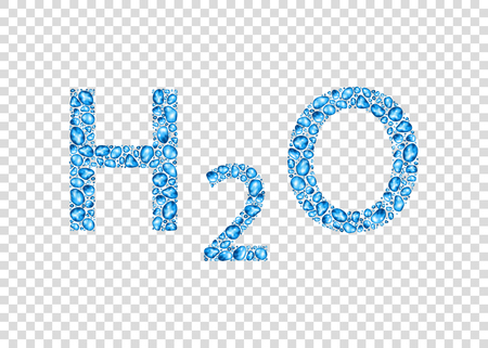 Chemical formula of water with  drops  isolated on transparent background. Different forms  of realistic pure blue droplets or bubbles. Vector background.