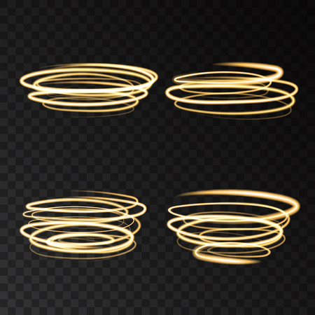 Golden neon swirling circles speed motion lights effects isolated on  transparent background. Shining  gold  magic  ring trace. Vector glitter shimmer spiral.
