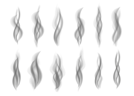 Gray  smoke isolated on white  background. Dark steam.  Realistic toxic smog vector texture.