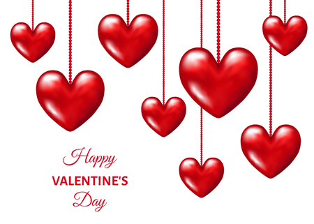 Valentines day  background with  hanging  realistic 3d  red  hearts. Vector  illustration for  party invitation  flyer, sale  banners,  greeting postcard, save the date card templates.