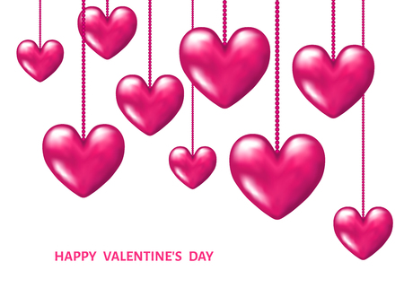 Valentines day background with hanging pink realistic 3d hearts. Vector illustration for party invitation flyer, greeting card, save the date card templates.