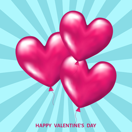 Pink realistic 3d balloons in shape of hearts for Valentines day greeting card isolated on blue background. Weeding decoration. Vector illustration for banner, save the date card templates. Illustration