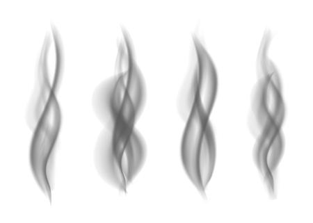 Gray smoke. Dark steam. Realistic smog vector texture.