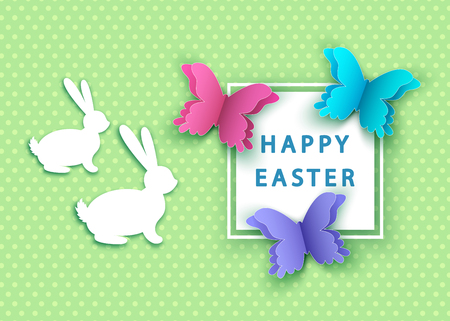 Happy easter background with  paper  butterfly and  bunny. Spring. Vector flat design poster, greeting  card  template.