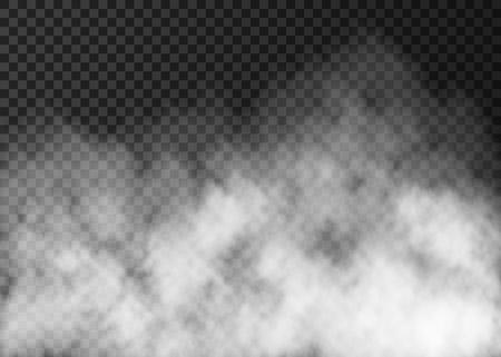 Witte rooktextuur die op transparante achtergrond wordt geïsoleerd. Vector Illustratie