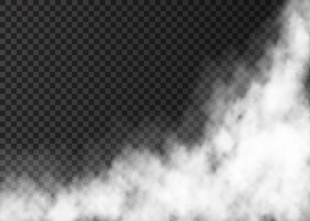 White steam isolated on transparent background. Fog special effect. Realistic vector fire smoke or mist texture .