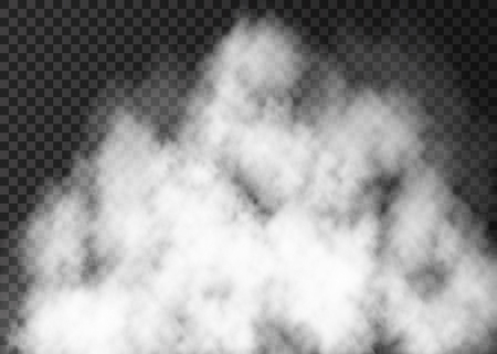 White  realistic  smoke  isolated on transparent background.  Steam special effect.  Vector explosion  or fog texture . Vettoriali