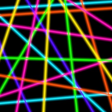 Colorful neon laser beams on black transparent background.
