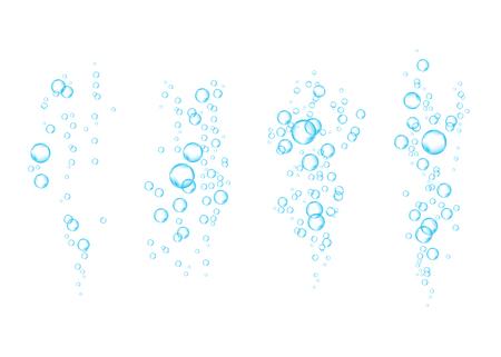 Blaue sprudelnde Unterwasserluftblasen strömen auf weißen Hintergrund.
