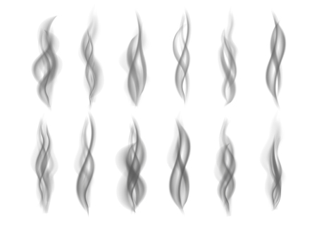 Gray fire  smoke isolated on white  background. Dark steam.  Realistic  black smog vector texture.  Ilustração