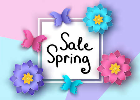 Spring  season  sale banner with paper cut  flowers  and butterflies. Trendy floral colorful background. Vector   graphic design elements for promotion offer, fashion, greeting card.