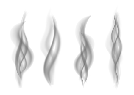 Set of gray smoke isolated on white background. Dark steam. Realistic smog vector texture.