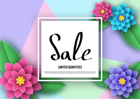 Spring or summer  sale banner with beautiful flowers, leaves. Trendy floral colorful background. Vector paper cut  graphic design elements for promotion offer, fashion, greeting card.