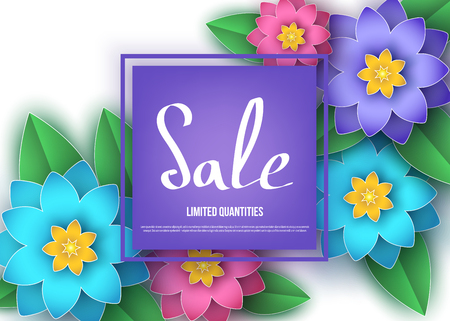 Spring or summer  season  sale banner with colorful  flowers. Trendy floral  background. Vector paper cut  graphic design elements for promotion offer, fashion, greeting card.