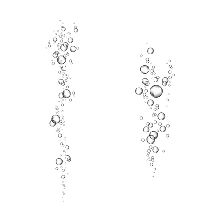 Underwater fizzing air bubbles flow isolated on white background. Fizzy sparkles in water, sea, aquarium. Soda pop. Undersea vector texture.