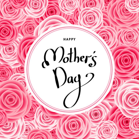 Mother's day greeting card with roses vector illustration 向量圖像