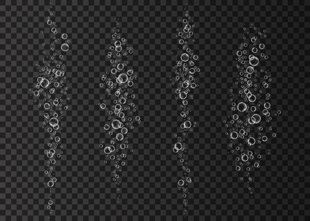Champagne. Effervescent drink.  Underwater fizzing air, water or oxygen  bubbles on dark background. Fizzy sparkles in sea, aquarium. Soda pop. Undersea vector texture.