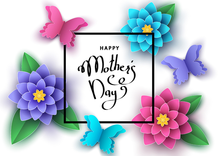 Happy mother's day banner template with paper abstract flowers, butterflies, lettering.