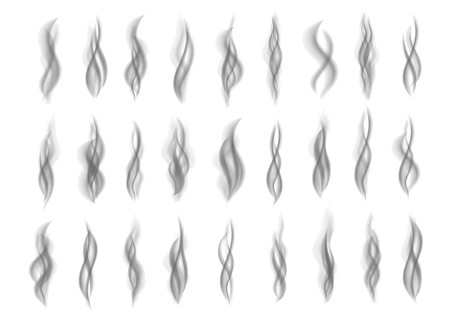 Gray fire smoke isolated on white background. Dark steam. Realistic smog vector texture. 矢量图像