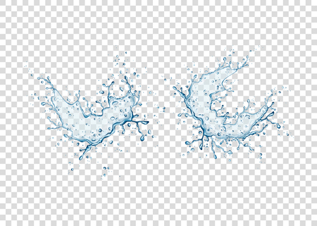 Realistic blue water splash and drops isolated on transparent background. Vector texture.