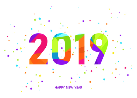 2019 Happy New Year greeting card on white background with colorful confetti. Vector  template.