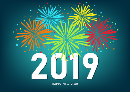 2019 Happy New Year greeting card on blue background with colorful fireworks. Vector design template. Vettoriali